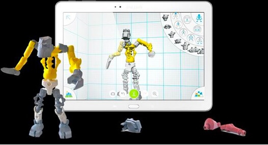 Screenshot of a robot being modeled in Autodesk Tinkerplay