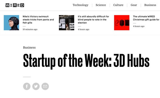 "Screenshot of Wired article ""Startup of the Week: 3D Hubs"""