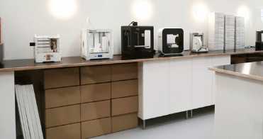 Our selection of 3D printing machines in our makerspace in the Amsterdam office