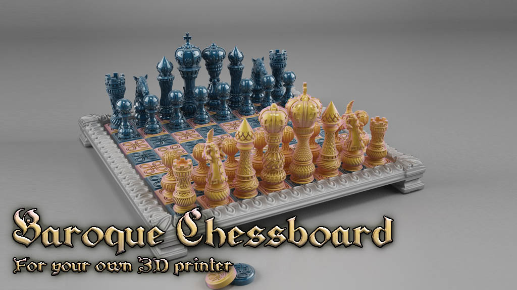 Baroque Chessboard: For your own 3D printer - CAD / Show and