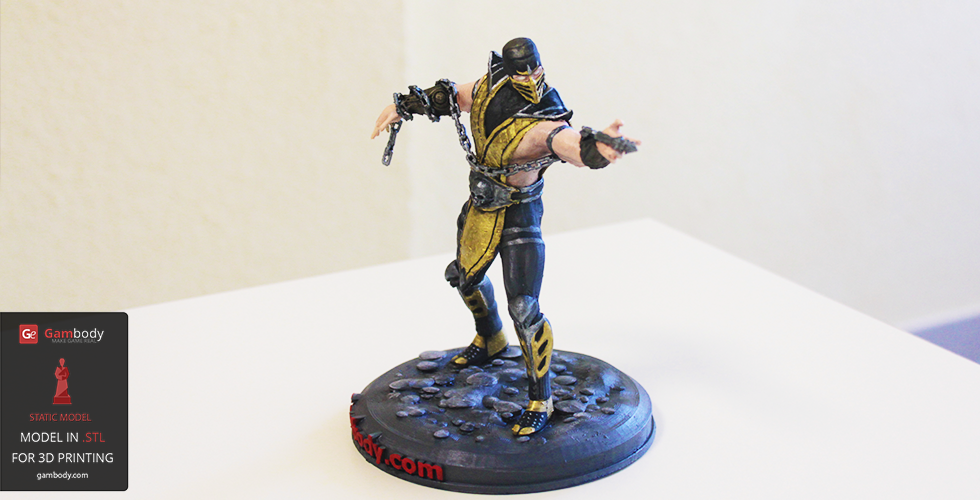 Painted 3D Printed Scorpion from Mortal Kombat - 3D Printing