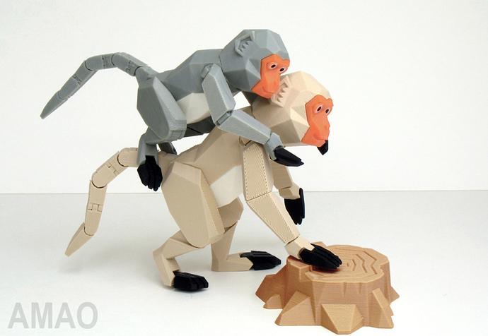 Formosan formose taiwan macaque singe chinese nouvel an chinois articulé imprimé en 3D cults STL gratuit 3.jpg