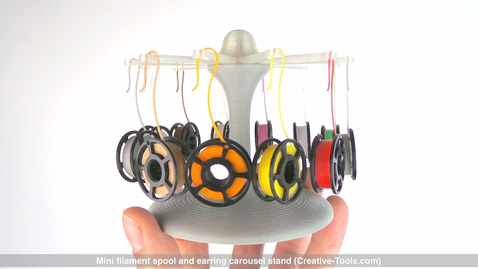 Mini filament spool and earring carousel stand (By CT3D.xyz) v01.jpg