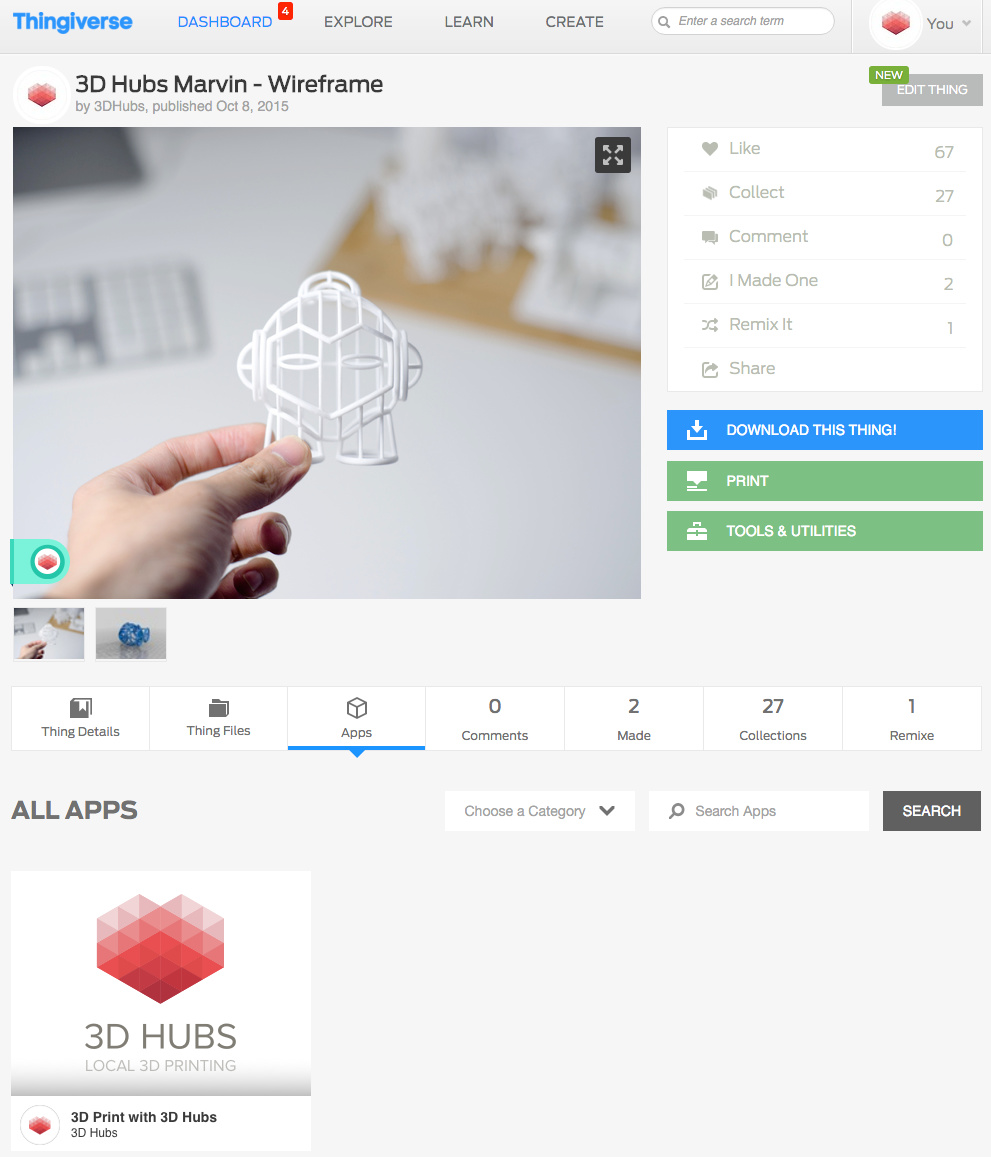 3D Hubs Print Button available to all Thingiverse Designers