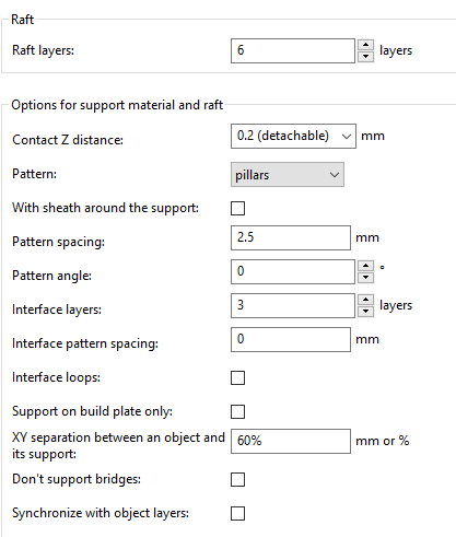 Which settings for raft in Slic3r and Original Prusa i3 MK2